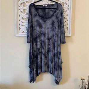 Boutique Tie Dye Black Long Sleeve Dress